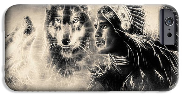 Native American Spirit Portrait iPhone Cases -  Painting  Young Indian Warrior Accompanied With Two Wolves. iPhone Case by Jozef Klopacka