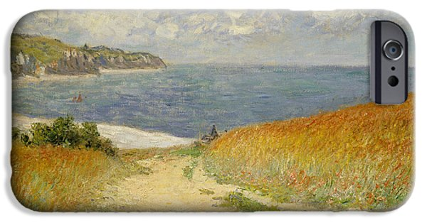 Sea View iPhone Cases -  Path in the Wheat at Pourville iPhone Case by Claude Monet