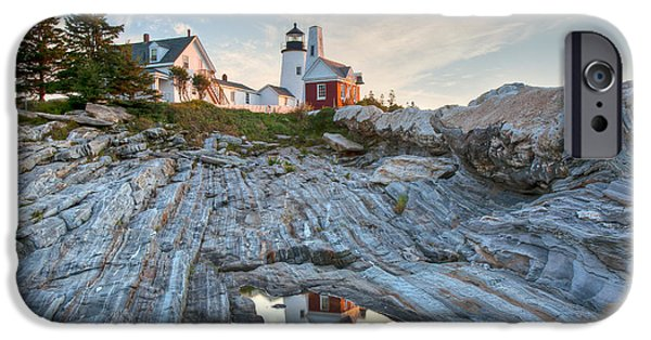 New England Lighthouse iPhone Cases -  Pemaquid Point Reflection iPhone Case by Susan Cole Kelly