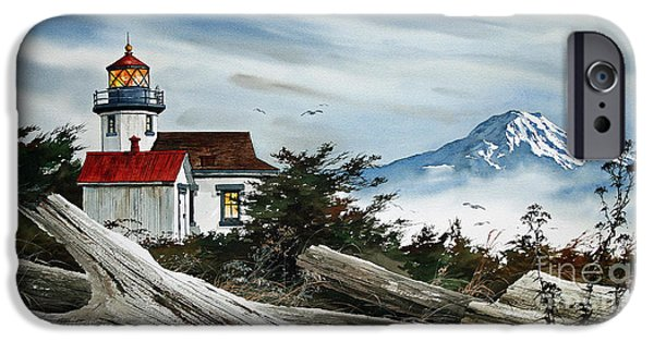Lighthouse iPhone Cases -  Point Robinson Lighthouse and Mt. Rainier iPhone Case by James Williamson