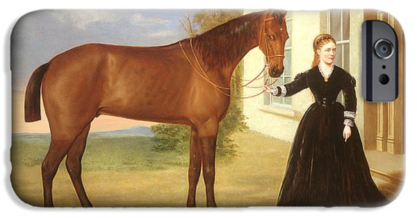 House iPhone Cases -  Portrait of a lady with her horse iPhone Case by English School