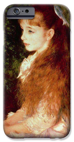 Young Paintings iPhone Cases -  Portrait of Mademoiselle Irene Cahen dAnvers iPhone Case by Pierre Auguste Renoir