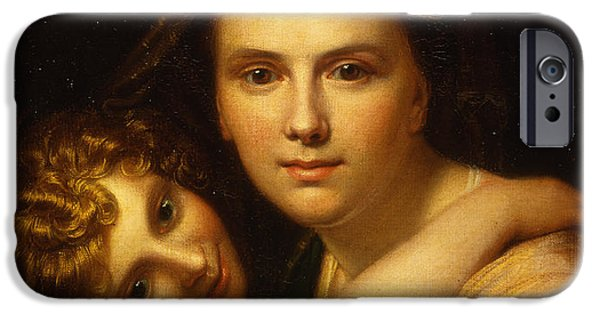 The Mother iPhone Cases -  Portrait of the artists wife and daughter  iPhone Case by Richard Cosway