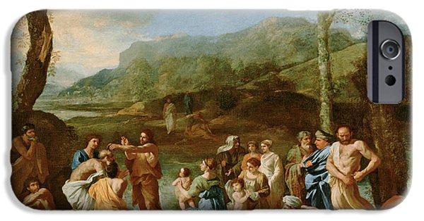 River Jordan Paintings iPhone Cases -  Saint John Baptizing in the River Jordan iPhone Case by Nicolas Poussin
