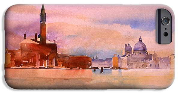Venetian Canals iPhone Cases -  San Giorgio and Salute iPhone Case by Simon Fletcher