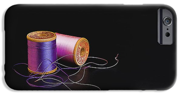 Work Tool iPhone Cases -  Sewing Thread iPhone Case by Maria Coulson