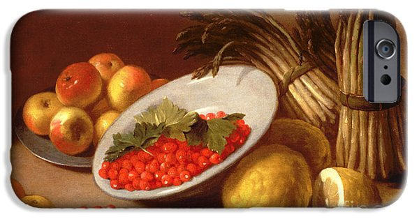 Strawberry iPhone Cases -  Still Life of Raspberries Lemons and Asparagus  iPhone Case by Italian School