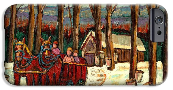 Afterschool Hockey Montreal Paintings iPhone Cases -  Sugar Shack iPhone Case by Carole Spandau