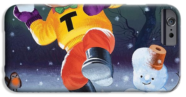 Snow iPhone Cases -  Teddy Bear Throwing Snowballs iPhone Case by William Francis Phillipps
