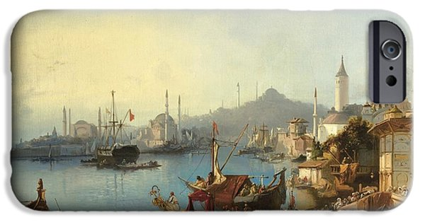 At Arrivals iPhone Cases -  The Arrival Of Sultan Abdulmecid At The Nusretiye Mosque iPhone Case by Celestial Images