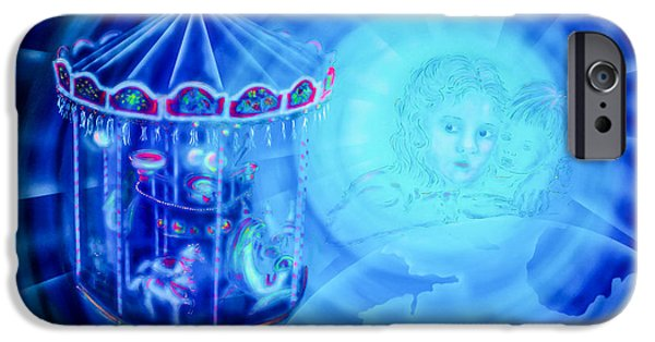 Business Paintings iPhone Cases -  The Cosmic Carousel Of Life  iPhone Case by Walter Zettl