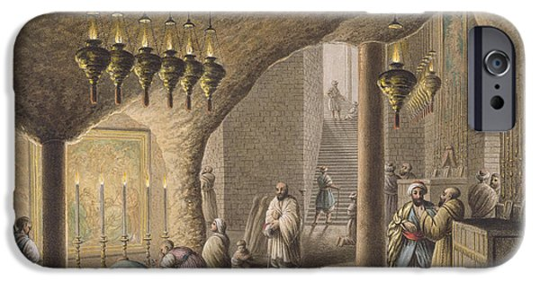 Religious Drawings iPhone Cases -  The Grotto of the Nativity in Bethlehem iPhone Case by Luigi Mayer