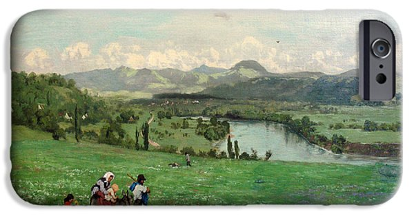 Village iPhone Cases -  The Rhine near Saeckingen iPhone Case by Hans Thoma