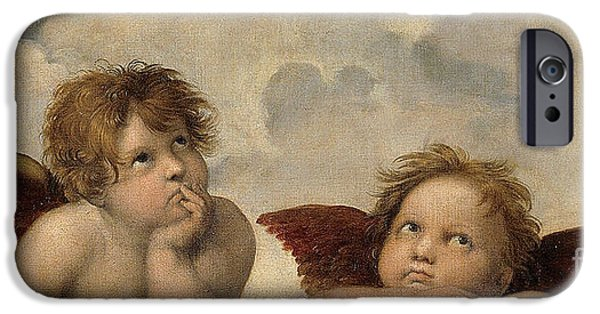 Raphael iPhone Cases -  The Sistine Madonna . Detail iPhone Case by Celestial Images