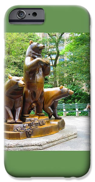 Usa Sculptures iPhone Cases - Three Bronze Sculpture Statue of Bears great attraction at New York NY Central Park by NavinJoshi iPhone Case by Navin Joshi
