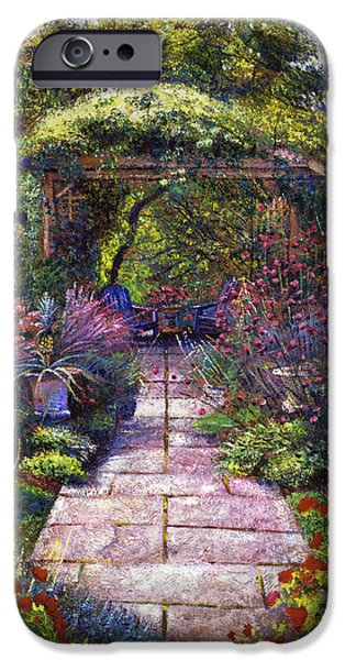 Pathway iPhone Cases -  Two Blue Garden Chairs iPhone Case by David Lloyd Glover