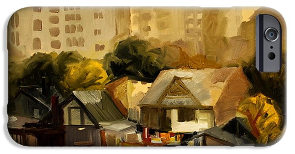 Nature Study Paintings iPhone Cases -  Urban Landscape iPhone Case by Ion Mihalache