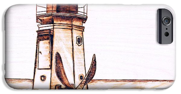 Lighthouse Pyrography iPhone Cases -  Vermilion Lighthouse iPhone Case by Danette Smith
