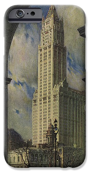 Architecture Drawings iPhone Cases -  View Of The Woolworth Building iPhone Case by American School