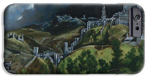 Black Sky iPhone Cases -  View of Toledo iPhone Case by El Greco