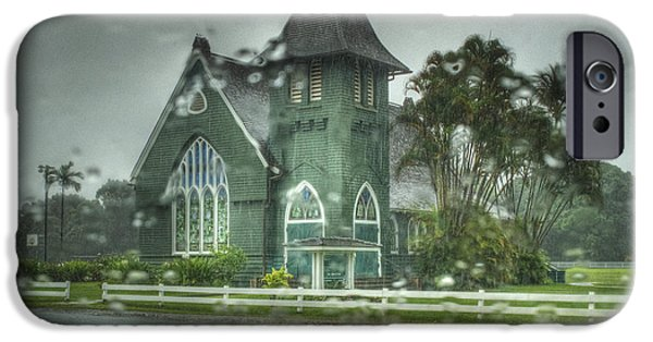 Rainy Day iPhone Cases -  Waioli Huiia Church Kauai  iPhone Case by Joe  Palermo