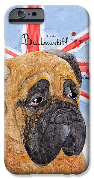 Cute Puppy iPhone Cases -  Watercolor postcard Dogs Bullmastiff iPhone Case by Maryna Lievshyna
