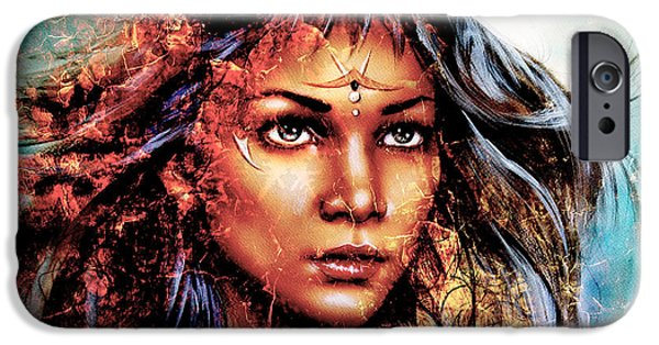 Nature Abstracts iPhone Cases -  Woman  Mystic Face Structure Background Fire Effect Collage iPhone Case by Jozef Klopacka