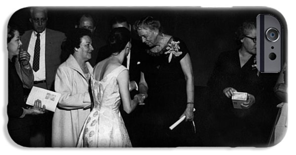 First Lady iPhone Cases -  Women Females Meeting Eleanor Roosevelt 1956 iPhone Case by Mark Goebel