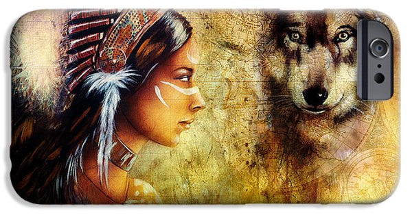 Native American Spirit Portrait iPhone Cases -  Young Indian Woman Wearing  With  Wolf And Feather Headdress iPhone Case by Jozef Klopacka
