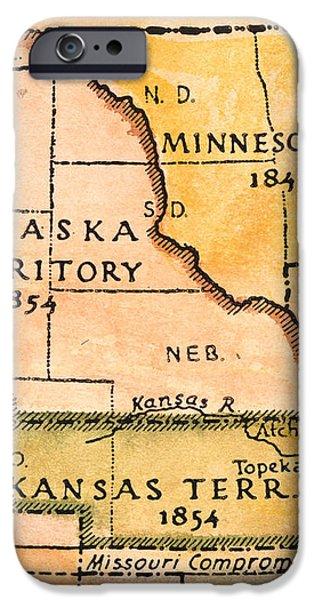 KANSAS-NEBRASKA MAP, 1854 iPhone Case by Granger