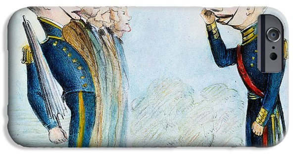Destiny iPhone Cases - Cartoon: Mexican War, 1846 iPhone Case by Granger