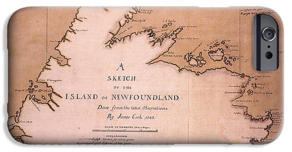 Canadian Map iPhone Cases - Cook: Newfoundland, 1763 iPhone Case by Granger