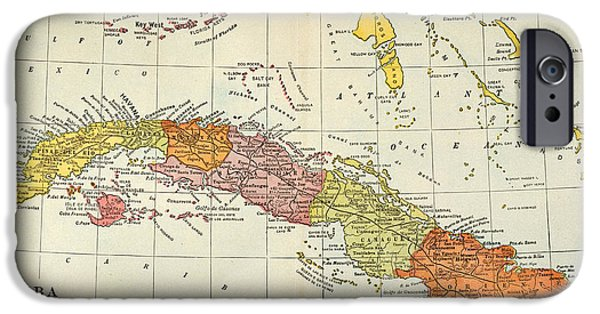 1900 iPhone Cases - Map: Cuba, 1900 iPhone Case by Granger