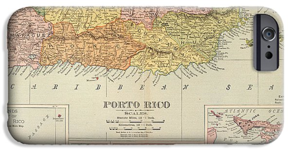 1900 iPhone Cases - Map: Puerto Rico, 1900 iPhone Case by Granger