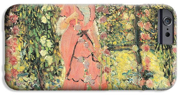 Important Paintings iPhone Cases - Hollyhocks iPhone Case by Frederick Frieseke