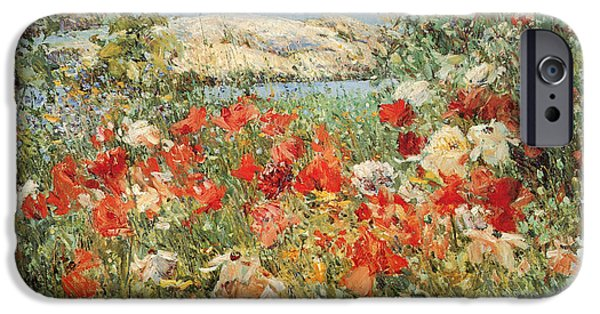 Childe iPhone Cases - Celia Thaxters Garden Isle of Shoals Maine iPhone Case by Childe Hassam