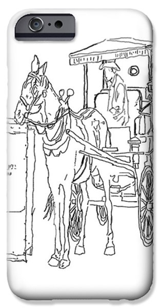 Horse And Buggy Drawings iPhone Cases - 04061025 Horse And Buggy iPhone Case by Garland Oldham
