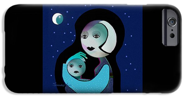Gimp iPhone Cases - 042 - Moon Mother Child  ... iPhone Case by Irmgard Schoendorf Welch
