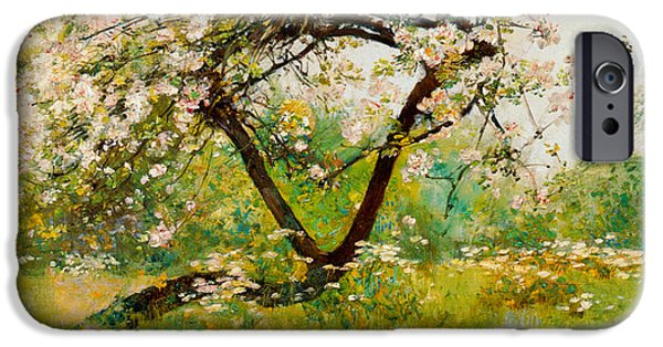Childe iPhone Cases - Peach Blossoms iPhone Case by Childe Hassam