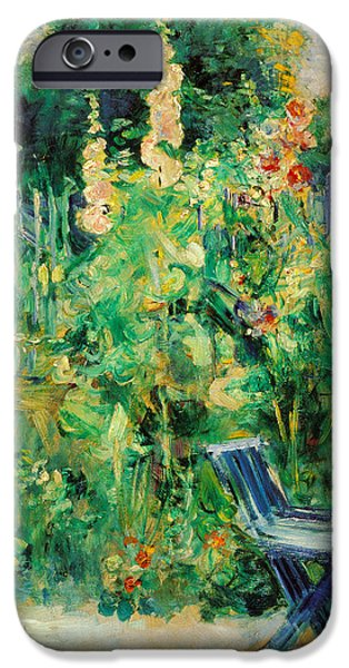 Hollyhock iPhone Cases - Hollyhocks iPhone Case by Berthe Morisot