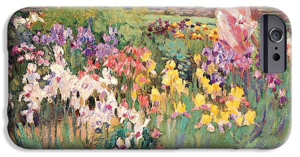 Important Paintings iPhone Cases - Iris Garden iPhone Case by Ada Walter Shulz