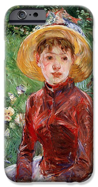 Cage Paintings iPhone Cases - Young Girl On The Grass iPhone Case by Berthe Morisot