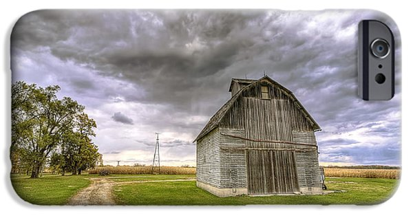 Illinois Barns iPhone Cases - 0980 Central Illinois Barn iPhone Case by Steve Sturgill