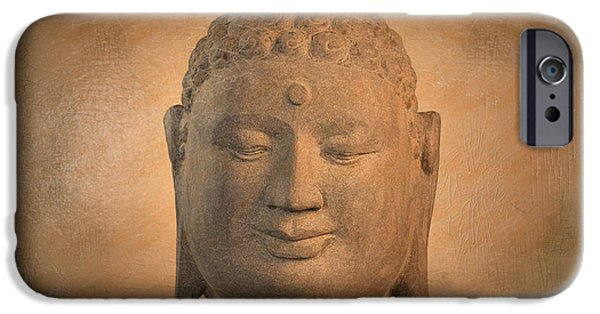 Tranquil Sculptures iPhone Cases -  antique oil effect Buddha Borobudur iPhone Case by Terrell Kaucher