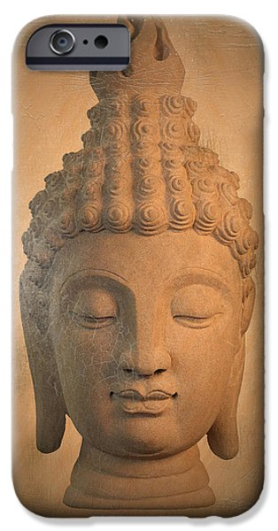 Tranquil Sculptures iPhone Cases -  antique oil effect Buddha Sukhothai ,, iPhone Case by Terrell Kaucher