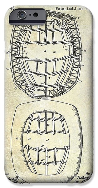 Baseball Glove iPhone Cases - 1887 Baseball Mask Patent iPhone Case by Jon Neidert