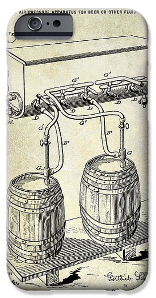 Stein iPhone Cases - 1900 Beer Keg System Patent iPhone Case by Jon Neidert