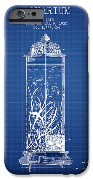 Aquarium Fish iPhone Cases - 1902 Aquarium Patent - Blueprint iPhone Case by Aged Pixel