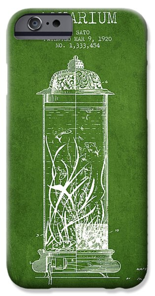 Aquarium Fish iPhone Cases - 1902 Aquarium Patent - Green iPhone Case by Aged Pixel