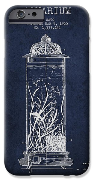 Aquarium Fish iPhone Cases - 1902 Aquarium Patent - Navy Blue iPhone Case by Aged Pixel